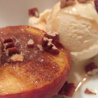 Grilled Peaches with Toasted Pecans and Vanilla Ice Cream
