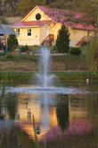 Photo: Yoga Farm, Grass Valley, CA - Pond, Fountain and Yoga hall
