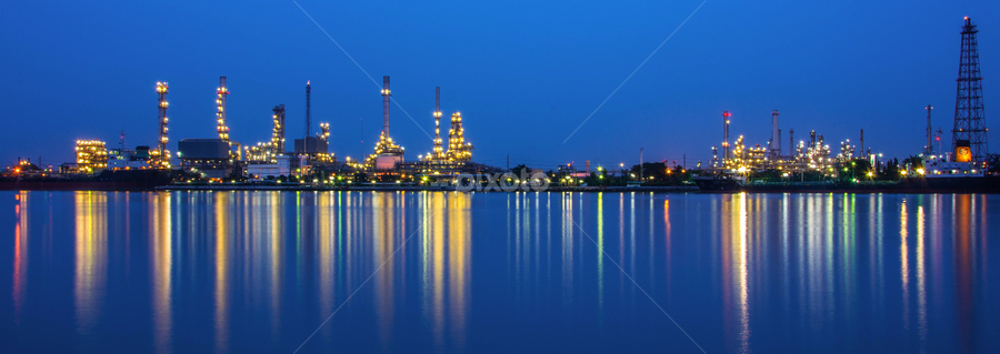 Thailand Bangjak Oil refinery01 by Waraphorn Aphai - Landscapes Starscapes ( #thailand #bangjakoil #refinery #samutprakarn #thailandonly #cameralover #nightscape )
