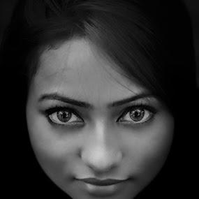 B&W Portrait  by Anuruddha Das - People Portraits of Women ( girl, kolkata, india, portrait, black, eye, eyes,  )