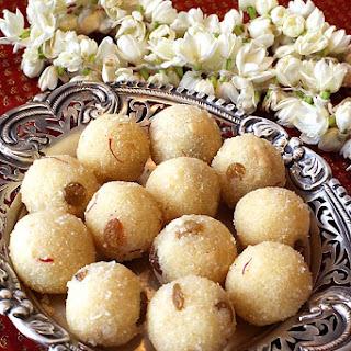 Rava Laddu/Semolina Balls With Saffron, Cashews, Raisins & Cardamom.