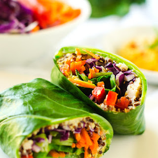 Chicken Quinoa Collard Wraps