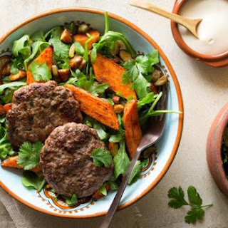Moroccan Lamb Merguez Patties With Warm Carrot Salad.