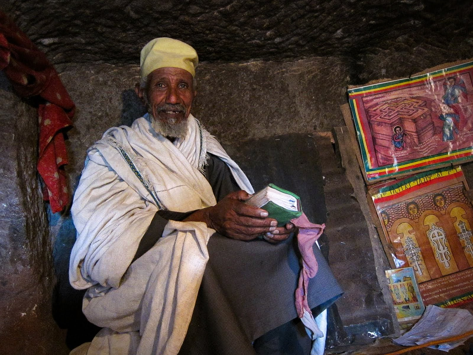 An Ethiopian priest inside a Lalibela rock church