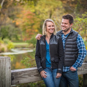 Engaged! by Lynn Kirchhoff - People Couples ( love, wedding, engaged, couple, bridge, arboretum, portrait,  )