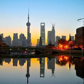 Shanghai at dawn by Francisco Little - City,  Street & Park  Skylines ( sunrise, china, reflection, shanghai, cityscape, dawn )