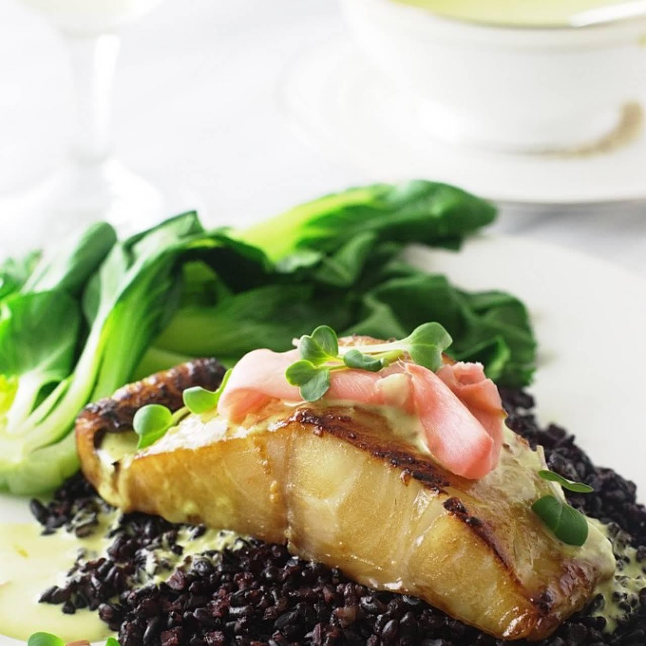 Sake-red Miso Glazed Sablefish  like Wasabi Emulsion