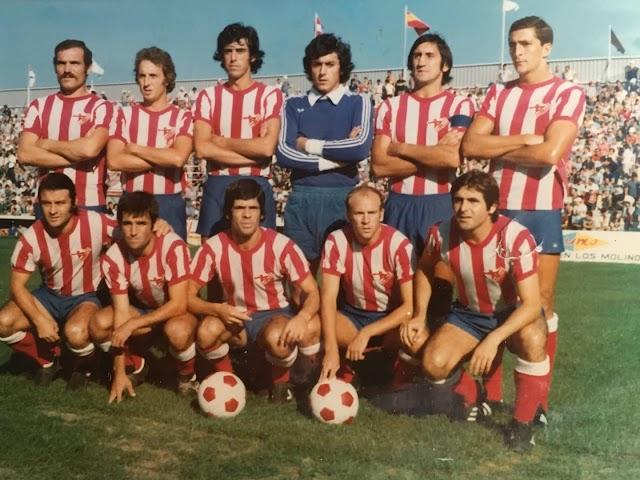 Ufarte y el meta Reyes en un Almería de la temporada 1976-77.