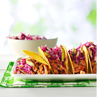 Barbecue Pork Tacos with Apple Slaw.