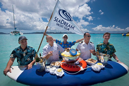 Seadream-Caribbean2.jpg - Caviar and champagne in the surf is part of the SeaDream experience.