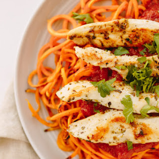 Sweet Potato Noodles with Chicken and Tomato Basil Sauce.