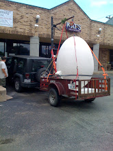 Photo: The 6' egg structure is delivered.