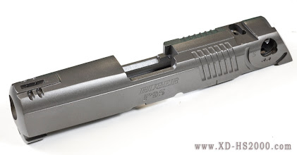 Photo: The slide freshly blasted and coated. I used KG Gun Kote in Titanium color.