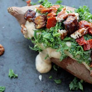 Cauliflower Cheese-Stuffed Sweet Potatoes [Vegan].