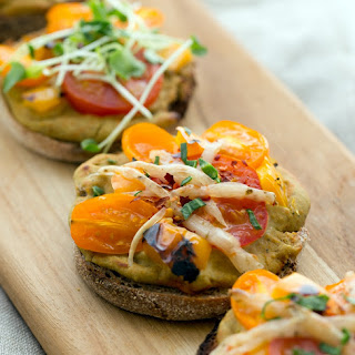 Roasted Pepper Hummus English Muffin Pizzas with Tomatoes