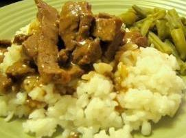 Quick And Easy Pork N Gravy With Rice Recipe