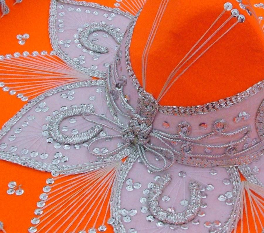 Orange by Pamela Howell - Abstract Patterns ( abstract, orange, texas, fiesta, sombrero, hat )