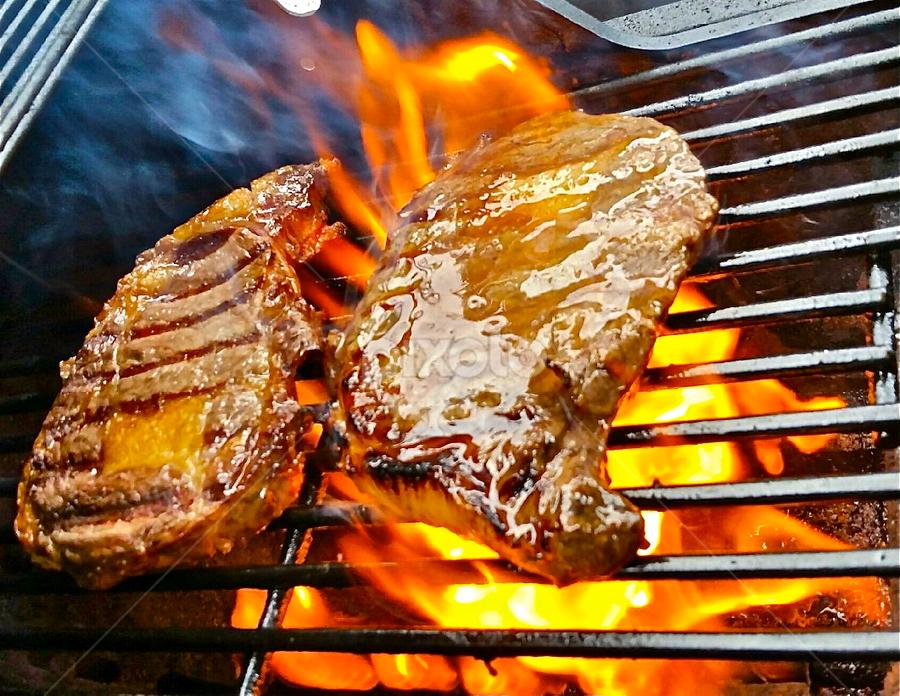 { Rib Eyes On The B ~ B ~ Q ~ 20 July }  by Jeffrey Lee - Food & Drink Meats & Cheeses ( { rib eyes on the b ~ b ~ q ~ 20 july } )