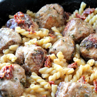 Chicken Basil Meatballs with Sundried Tomato Cream Sauce.