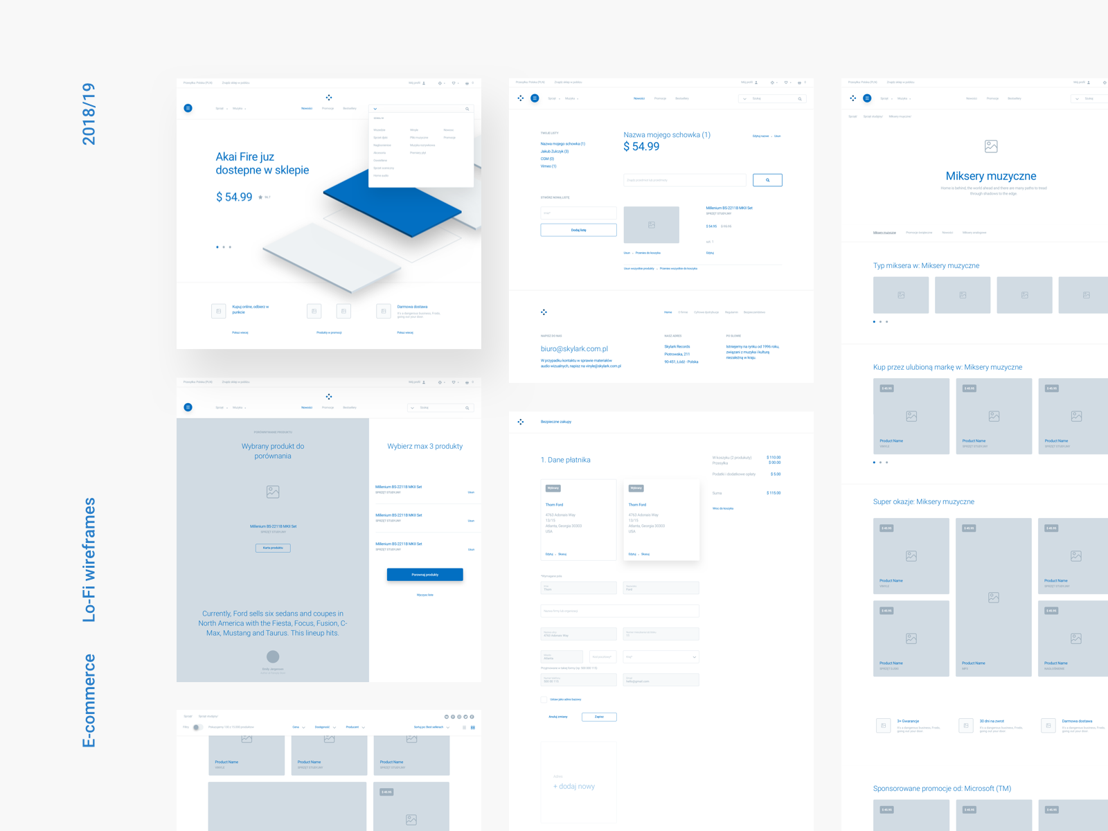 A medium fidelity wireframe example of a landing page for Piotr Kaźmierczak's eCommerce website.