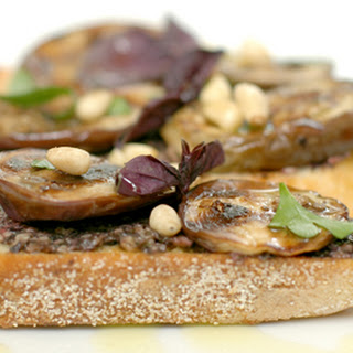 Baby Eggplant Bruschetta with Purple Pesto