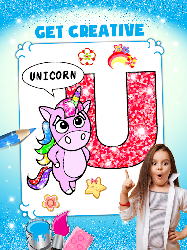 Glitter Number and letters coloring Book for kids screenshot 13