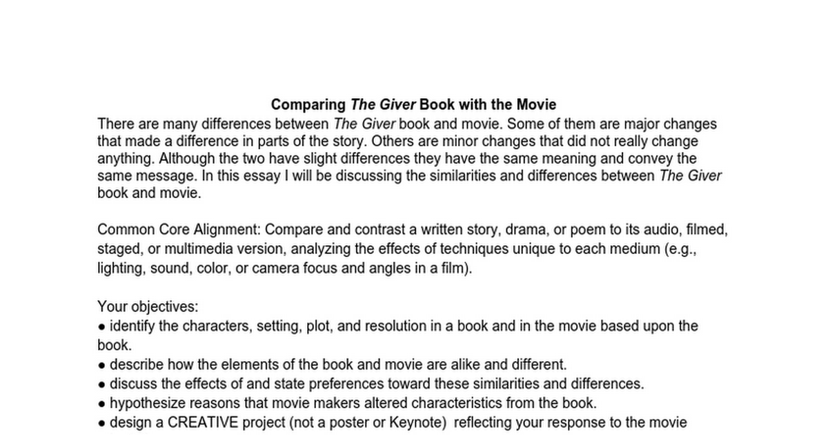 essay on the giver