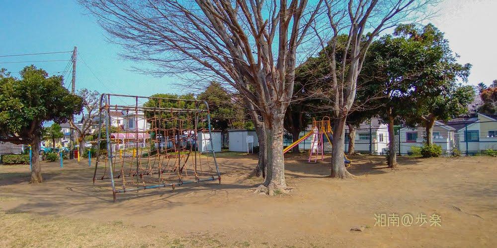 石原谷公園 遊具と樹木
