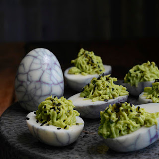 Avocado and Wasabi Deviled Eggs.