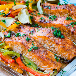 Sheet Pan Salmon Fajitas.