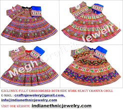 Photo: BOTH SIDE FULL EMBROIDERED CHANIYA CHOLI-APPROX SIZE: Height of Skirt (chaniya) -42''inch/Skirt flared size (width )-142''inch/The skirt has both sided (front & back) embroidery work./Size of Blouse : Regular (free size)