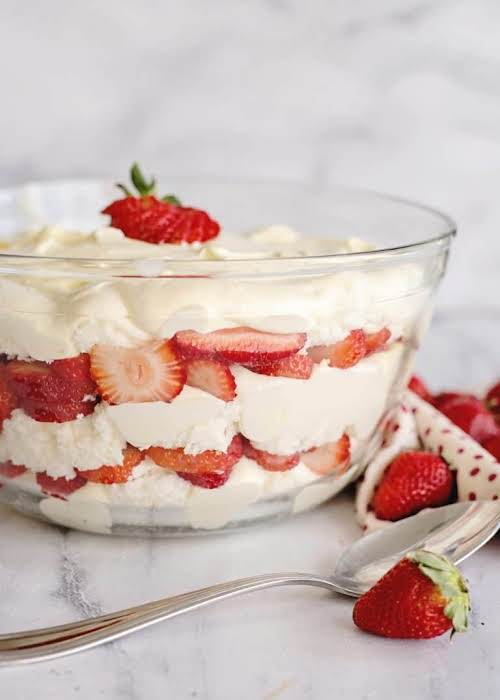 """Strawberry Punch Bowl Cake""""You may recognize this as a """"trifle"""" but in..."""