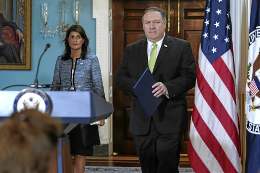 US Secretary of State Mike Pompeo, right, and US ambassador to the UN Nikki Haley announce the US withdrawal from the UN Human Rights Council, at the State Department in Washington, on June 19 2018. Picture: REUTERS