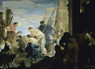 Photo: Bourdon Sébastien - La rencontre d'Antoine et de Cléopâtre - ca. 1645 145x197 Paris - musée du Louvre