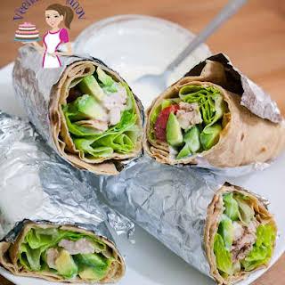 Super Easy Healthy Chicken Wrap with Avocado and Yogurt Dressing.