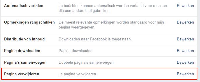 Verwijder je facebookpagina