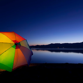 Blue Hour Umbrella  by John CHIMON - Landscapes Starscapes ( calm, desert, waterscape, california, colors, beautiful, sea, lake, bluehour, blue, color, sunset, bluesky, salton, circle, pwc79 )