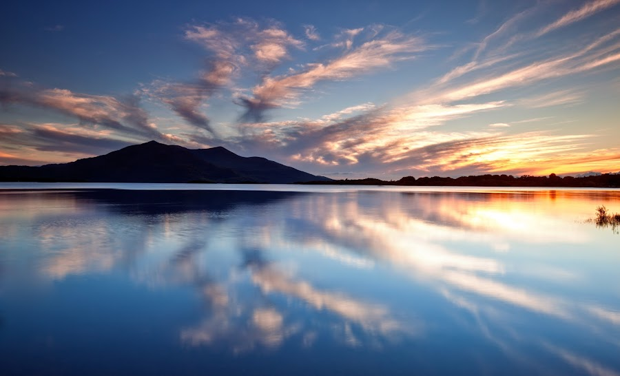 Reflect by Brens Photo's - Landscapes Mountains & Hills ( mountain, sunset, reflections, lkae, lough )