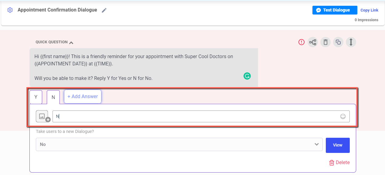 appointment reminder text chatbot example
