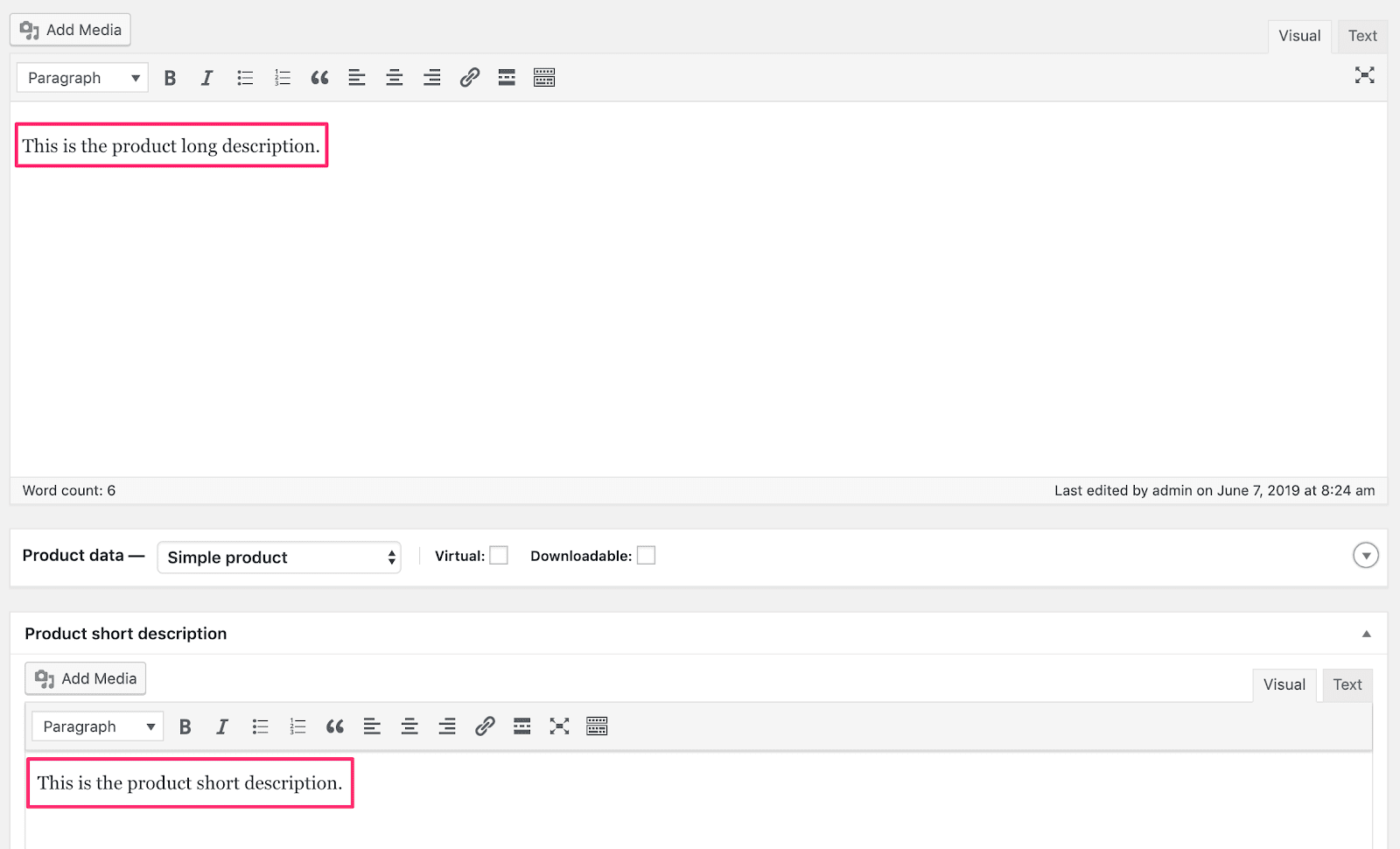 Edit Product Description WooC Commerce