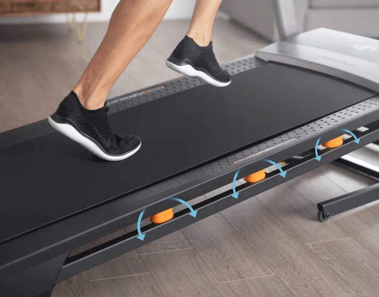 treadmill with shock absorbers