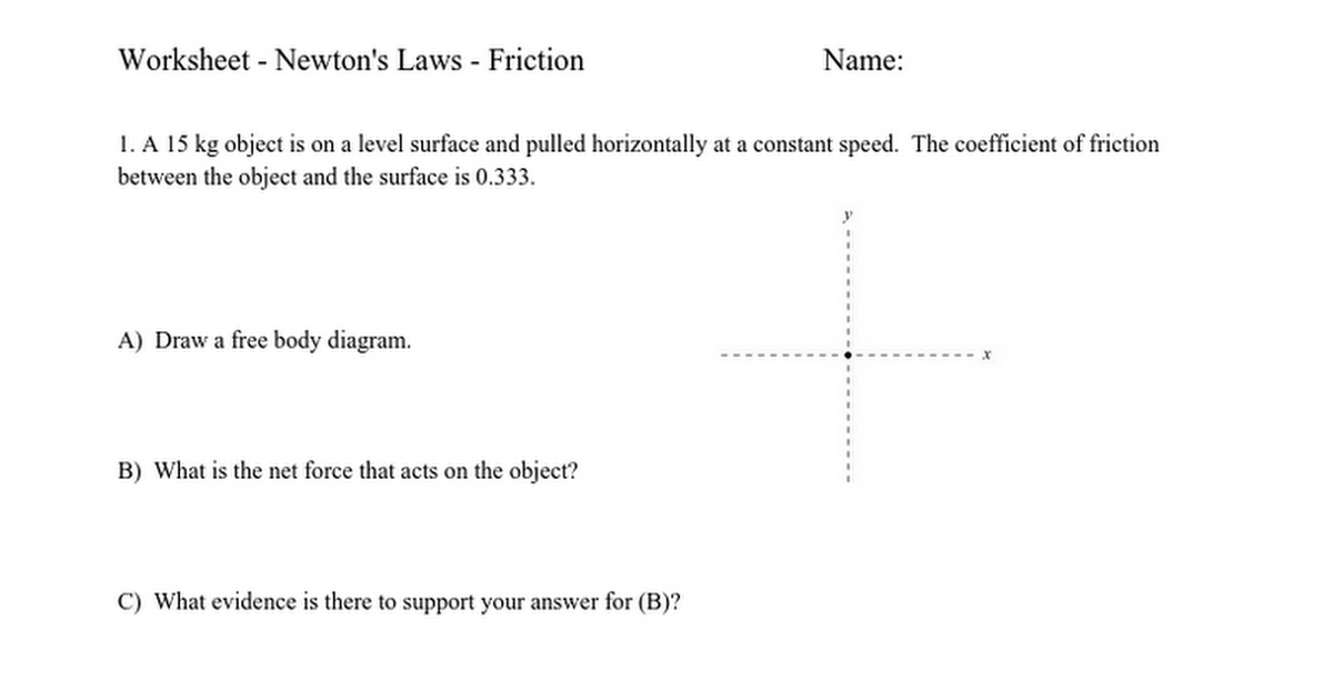Worksheet  Newtons Laws  Friction  Google Docs