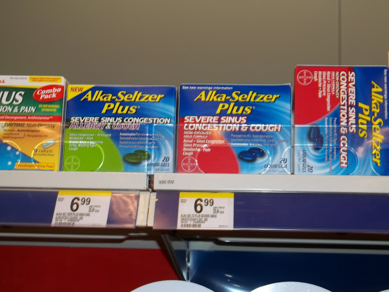 Photo: Normally I have no trouble finding it, but today was different. None up here, and these were the only Alka-Seltzer products I could find!
