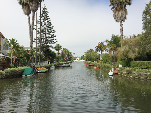 venice-canal9.jpg - A view from a footbridge spanning one of the canals of Venice, California.