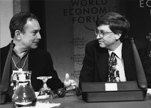 """Photo: DAVOS/SWITZERLAND, JAN 1996 - Michael Bloomberg, Founder of Bloomberg; William H. Gates III, Chairman and CEO of Microsoft Corporation at the Annual Meeting of the World Economic Forum in Davos in 1996. Copyright <a href=""""http://www.weforum.org"""">World Economic Forum</a> (<a href=""""http://www.weforum.org"""">http://www.weforum.org</a>)"""