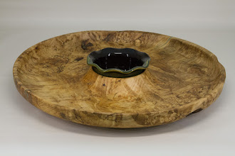 "Photo: Mike Colella 16"" x 1 1/2"" platter [spalted maple, ceramic]"