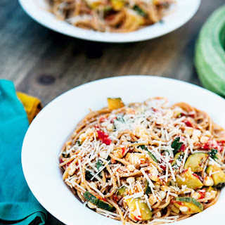 Roasted Corn, Zucchini, Tomato Pasta