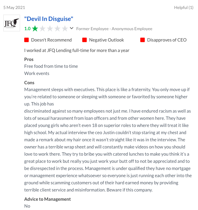 JFQ lending reviews from employees