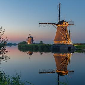 Kinderdijk by Rémon Lourier - Buildings & Architecture Statues & Monuments ( mills, blue hour, kinderdijk, holland, historical, windmills )