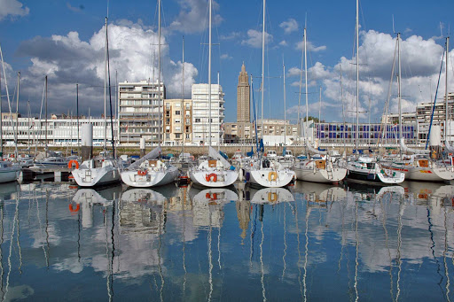The marina at the port of Le Havre, France.